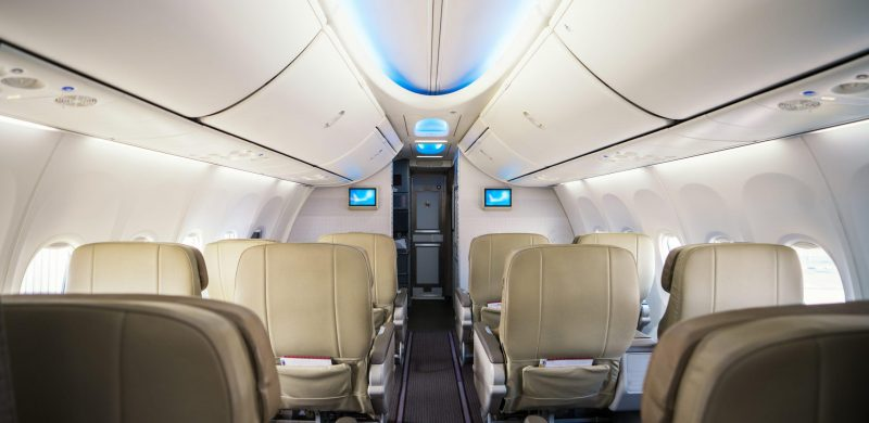 Seat of business class in airlpane, this immage can use for transportation, flight, air, olane, jet and travel concept